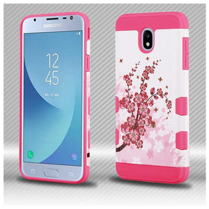 AMZER® TUFFEN Trooper Hybrid Protector Cover - Spring Flowers/Electric Pink for Samsung Galaxy J3 2018