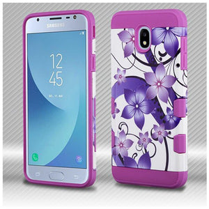 AMZER® TUFFEN Trooper Hybrid Protector Cover - Purple Hibiscus Flower Romance/Electric Purple for Samsung Galaxy J3 2018