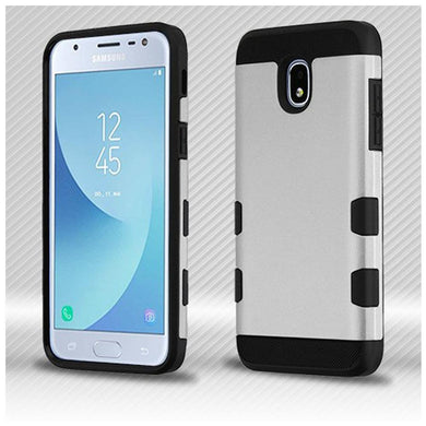 AMZER® TUFFEN Trooper Hybrid Protector Cover - Rubberized Space Silver/Black for Samsung Galaxy J3 2018