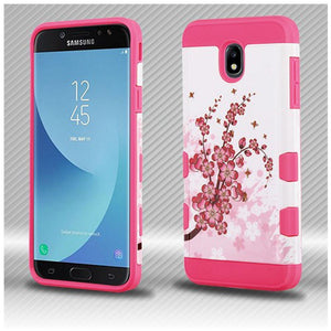 AMZER® TUFFEN Trooper Hybrid Protector Cover - Spring Flowers/Electric Pink for Samsung Galaxy J7 2018