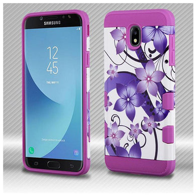 AMZER® TUFFEN Trooper Hybrid Protector Cover - Purple Hibiscus Flower Romance/Electric Purple for Samsung Galaxy J7 2018