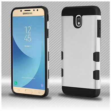 AMZER® TUFFEN Trooper Hybrid Protector Cover - Rubberized Space Silver/Black for Samsung Galaxy J7 2018