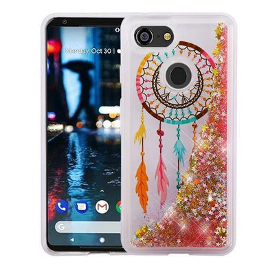 AMZER® Quicksand Glitter Hybrid Protector Cover - Dreamcatcher & Gold Stars for Google Pixel 3