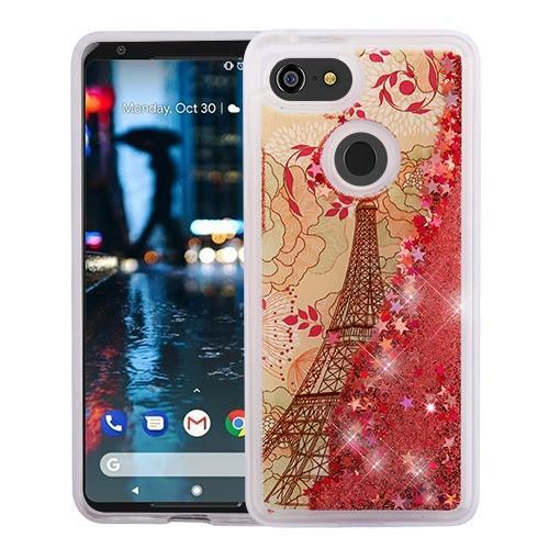 AMZER® Quicksand Glitter Hybrid Protector Cover - Eiffel Tower & Rose Gold Stars for Google Pixel 3