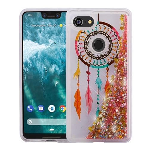 AMZER® Quicksand Glitter Hybrid Protector Cover - Dreamcatcher & Gold Stars for Google Pixel 3 XL