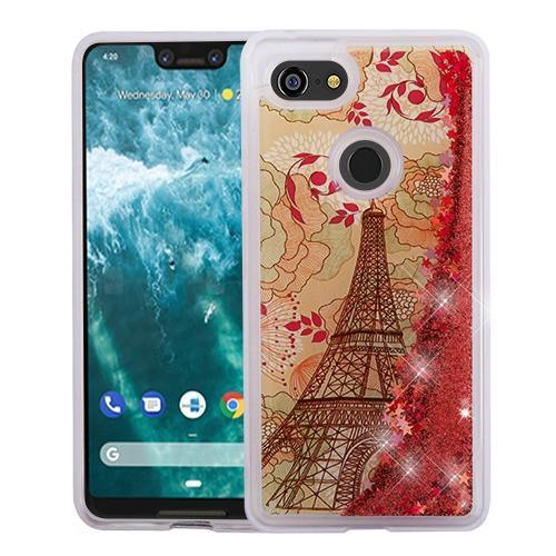 AMZER® Quicksand Glitter Hybrid Protector Cover - Eiffel Tower & Rose Gold Stars for Google Pixel 3 XL