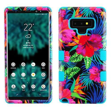 AMZER® TUFFEN Hybrid Protector Cover - Electric Hibiscus/Tropical Teal for Samsung Galaxy Note9