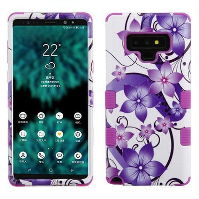 AMZER® TUFFEN Hybrid Protector Cover - Purple Hibiscus Flower /Electric Purple for Samsung Galaxy Note9