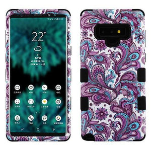 AMZER® TUFFEN Hybrid Protector Cover - Purple Flowers/Black for Samsung Galaxy Note9