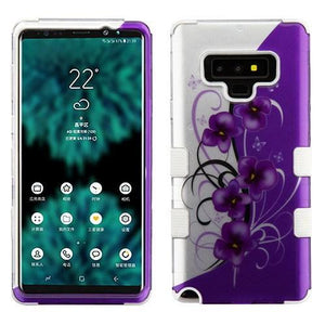 AMZER® TUFFEN Hybrid Protector Cover - Twilight Petunias /Solid White for Samsung Galaxy Note9