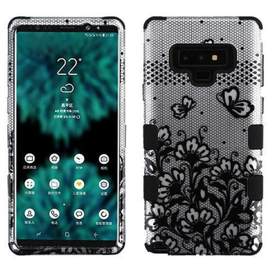 AMZER® TUFFEN Hybrid Protector Cover - Black Lace Flowers /Black for Samsung Galaxy Note9