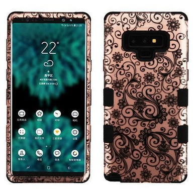 AMZER® TUFFEN Hybrid Protector Cover - Black Four-Leaf Clover /gold for Samsung Galaxy Note9