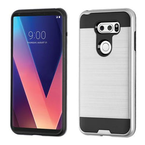 AMZER Brushed Hybrid Protector Cover - Silver/Black for LG V30
