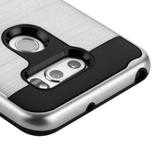 Load image into Gallery viewer, AMZER Brushed Hybrid Protector Cover - Silver/Black for LG V30