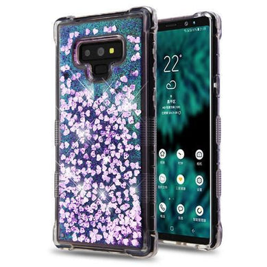 AMZER® TUFFEN Quicksand Glitter Hybrid Protector Cover - Purple Hearts for Samsung Galaxy Note9