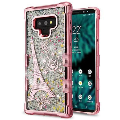 AMZER® TUFFEN Quicksand Glitter Hybrid Protector Cover - Rose Gold Eiffel Tower for Samsung Galaxy Note9