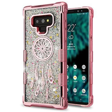 AMZER® TUFFEN Quicksand Glitter Hybrid Protector Cover - Rose Gold Dreamcatcher for Samsung Galaxy Note9