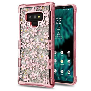 AMZER® TUFFEN Quicksand Glitter Hybrid Protector Cover - Hibiscus Flower for Samsung Galaxy Note9