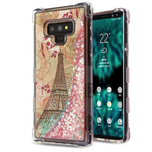 AMZER® TUFFEN Quicksand Glitter Hybrid Protector Cover - Eiffel Tower/Pink Hearts for Samsung Galaxy Note9