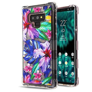 AMZER® TUFFEN Quicksand Glitter Hybrid Protector Cover - Watercolor Hibiscus/Silver for Samsung Galaxy Note9