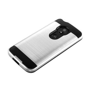 AMZER Brushed Hybrid Protector Cover - Silver/Black for Motorola Moto E5 Play