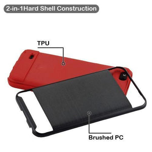 AMZER Brushed Hybrid Protector Cover - Black/Red for ZTE Tempo X N9137