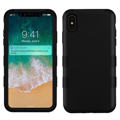 AMZER® TUFFEN Hybrid Phone Case Protector Cover - Black/Black for iPhone Xs Max