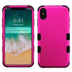 AMZER® TUFFEN Hybrid Phone Case Protector Cover - Hot Pink/Black for iPhone Xs Max