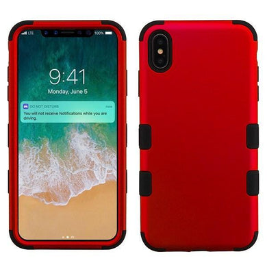 AMZER® TUFFEN Hybrid Phone Case Protector Cover - Red/Black for iPhone Xs Max
