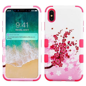 AMZER® TUFFEN Hybrid Phone Case Protector Cover - Spring Flowers/Electric Pink for iPhone Xs Max