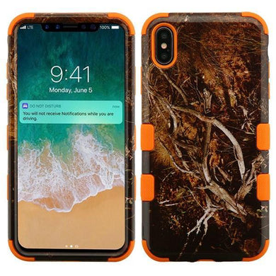 AMZER® TUFFEN Hybrid Phone Case Protector Cover - Black Vine/Orange for iPhone Xs Max