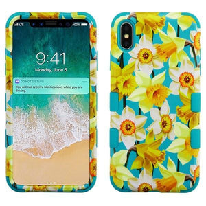 AMZER® TUFFEN Hybrid Phone Case Protector Cover - Daffodils/Tropical Teal for iPhone Xs Max
