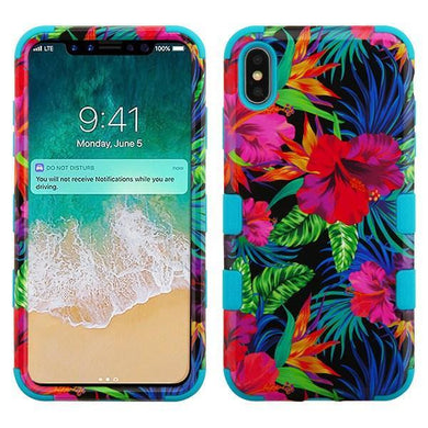 AMZER® TUFFEN Hybrid Phone Case Protector Cover - Hibiscus/Tropical Teal for iPhone Xs Max