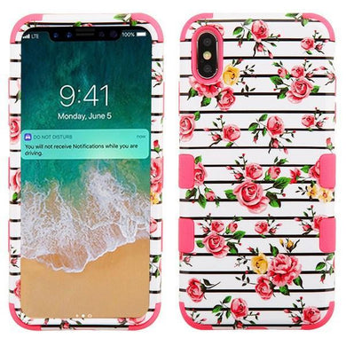 AMZER® TUFFEN Hybrid Phone Case Protector Cover - Pink Roses/Pink for iPhone Xs Max