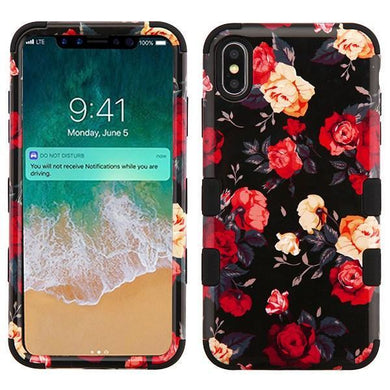 AMZER® TUFFEN Hybrid Phone Case Protector Cover - Red and White Roses/Black for iPhone Xs Max