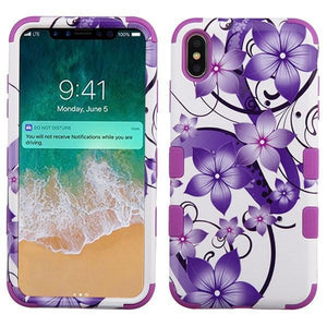 AMZER® TUFFEN Hybrid Phone Case Protector Cover - Hibiscus Flower/Purple for iPhone Xs Max