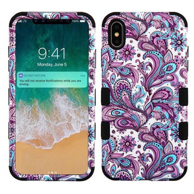 AMZER® TUFFEN Hybrid Phone Case Protector Cover - European Flowers/Black for iPhone Xs Max