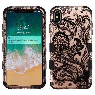 AMZER® TUFFEN Hybrid Phone Case Protector Cover - Phoenix Flower (2D Rose Gold)/Black for iPhone Xs Max