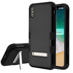 AMZER® TUFFEN Hybrid Protector Cover With Magnetic Metal Stand - Black/Black for iPhone Xs Max