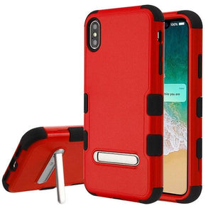 AMZER® TUFFEN Hybrid Protector Cover With Magnetic Metal Stand - Red/Black for iPhone Xs Max