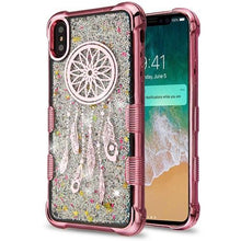 Load image into Gallery viewer, AMZER® TUFFEN Quicksand Glitter Lite Hybrid Protector Cover - Rose Gold Dreamcatcher/Silver Sparkles for iPhone Xs Max