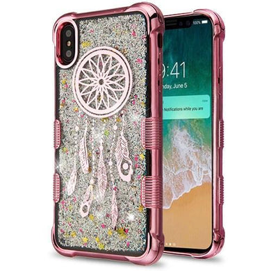 AMZER® TUFFEN Quicksand Glitter Lite Hybrid Protector Cover - Rose Gold Dreamcatcher/Silver Sparkles for iPhone Xs Max