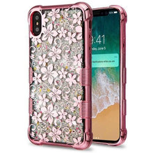 Load image into Gallery viewer, AMZER® TUFFEN Quicksand Glitter Lite Hybrid Protector Cover - Rose Gold Hibiscus Flower/Silver Sparkle for iPhone Xs Max