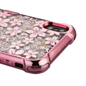 AMZER® TUFFEN Quicksand Glitter Lite Hybrid Protector Cover - Rose Gold Hibiscus Flower/Silver Sparkle for iPhone Xs Max