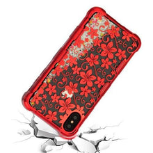 Load image into Gallery viewer, AMZER® TUFFEN Quicksand Glitter Lite Hybrid Protector Cover - Red Hibiscus Flower/Silver Sparkles for iPhone Xs Max