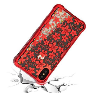 AMZER® TUFFEN Quicksand Glitter Lite Hybrid Protector Cover - Red Hibiscus Flower/Silver Sparkles for iPhone Xs Max