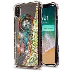 AMZER® TUFFEN Quicksand Glitter Lite Hybrid Protector Cover - Dreamcatcher/Gold Stars for iPhone Xs Max
