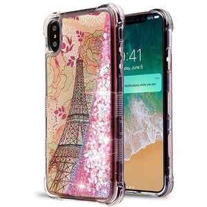 AMZER® TUFFEN Quicksand Glitter Lite Hybrid Protector Cover - Eiffel Tower/Pink Heart for iPhone Xs Max