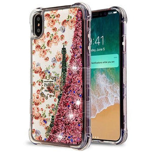 AMZER® TUFFEN Quicksand Glitter Lite Hybrid Protector Cover - Paris/Rose Gold Sparkles for iPhone Xs Max