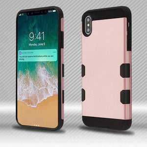 AMZER® TUFFEN Hybrid Protector Cover - Rose Gold/Black for iPhone Xs Max